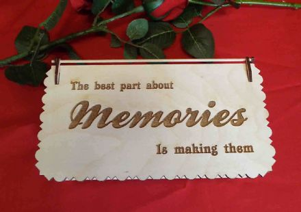 Engraved wooden memory keepsake box with hinged lid